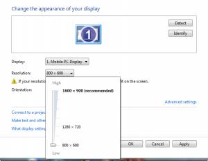 adjust screen resolution