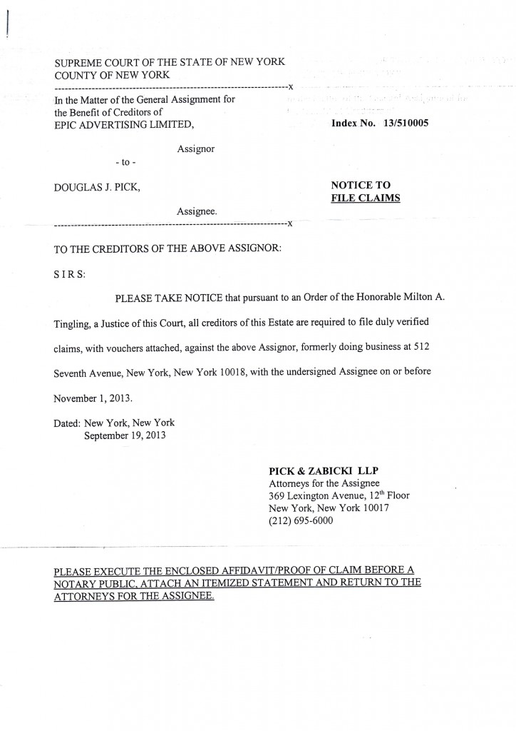 legal action letter against epic advertising limited