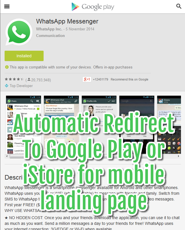 automatic redirect mobile landing page